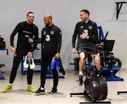 17 November 2019; Players, from left, Shane Duffy, David McGoldrick and Richard Keogh during a Republic of Ireland gym session at the Sport Ireland Institute in Abbotstown, Dublin. Photo by Stephen McCarthy/Sportsfile