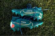 17 November 2019; A boots worn by James McClean, featuring the names of his children, following a Republic of Ireland training session at the FAI National Training Centre in Abbotstown, Dublin. Photo by Stephen McCarthy/Sportsfile