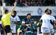 17 November 2019; Bundee Aki of Connacht reacts to a penalty during the Heineken Champions Cup Pool 5 Round 1 match between Connacht and Montpellier at The Sportsground in Galway. Photo by Ramsey Cardy/Sportsfile