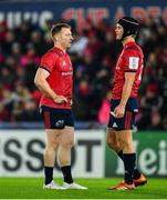 16 November 2019; Rory Scannell, left, and Tyler Bleyendaal of Munster during the Heineken Champions Cup Pool 4 Round 1 match between Ospreys and Munster at Liberty Stadium in Swansea, Wales. Photo by Seb Daly/Sportsfile