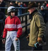 17 November 2019; Jockey Rachael Blackmore with trainer Willie Mullins prior to the Frontline Security Grabel Mares Hurdle at Punchestown Racecourse in Naas, Kildare. Photo by David Fitzgerald/Sportsfile