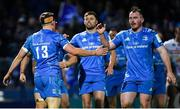 16 November 2019; Garry Ringrose, 13, is congratulated by Leinster team-mates Ross Byrne and Peter Dooley during the Heineken Champions Cup Pool 1 Round 1 match between Leinster and Benetton at the RDS Arena in Dublin. Photo by Ramsey Cardy/Sportsfile