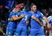 16 November 2019; Garry Ringrose, 13, is congratulated by Leinster team-matesJosh van der Flier and Peter Dooley during the Heineken Champions Cup Pool 1 Round 1 match between Leinster and Benetton at the RDS Arena in Dublin. Photo by Ramsey Cardy/Sportsfile