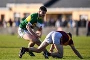 17 November 2019; Michael Quinlivan of Clonmel Commercials in action against Gordon Kelly of St. Joseph's Miltown Malbay during the AIB Munster GAA Football Senior Club Championship semi-final match between St. Joseph's Miltown Malbay and Clonmel Commercials at Hennessy Memorial Park in Miltown Malbay, Clare. Photo by Sam Barnes/Sportsfile