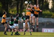 17 November 2019; Alan O'Donovan of Nemo Rangers contests a high ball with Michael O'Donnell, left, and Joseph O'Connor of Austin Stacks during the AIB Munster GAA Football Senior Club Championship semi-final match between Nemo Rangers and Austin Stacks at Páirc Ui Rinn in Cork. Photo by Eóin Noonan/Sportsfile