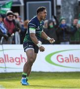 17 November 2019; Bundee Aki celebrates a try by Connacht team-mate Tom McCartney during the Heineken Champions Cup Pool 5 Round 1 match between Connacht and Montpellier at The Sportsground in Galway. Photo by Ramsey Cardy/Sportsfile
