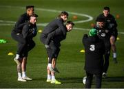 17 November 2019; Players, from left, Callum Robinson, Alan Browne, Jeff Hendrick, Seamus Coleman, Enda Stevens and Josh Cullen during a Republic of Ireland training session at the FAI National Training Centre in Abbotstown, Dublin. Photo by Stephen McCarthy/Sportsfile