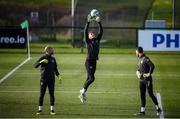 17 November 2019; Mark Travers, centre, Darren Randolph, left, and Kieran O'Hara during a Republic of Ireland training session at the FAI National Training Centre in Abbotstown, Dublin. Photo by Stephen McCarthy/Sportsfile