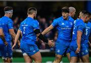 16 November 2019; Garry Ringrose of Leinster, right, celebrates after scoring his side's second try with Andrew Porter during the Heineken Champions Cup Pool 1 Round 1 match between Leinster and Benetton at the RDS Arena in Dublin. Photo by Sam Barnes/Sportsfile