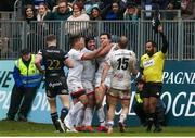 16 November 2019; Jacob Stockdale of Ulster is congratulated by his team-mates after he took the ball from Semesa Rokoduguni of Bath to secure Ulster's victory during the Heineken Champions Cup Pool 3 Round 1 match between Bath and Ulster at The Recreation Ground in Bath, England. Photo by John Dickson/Sportsfile