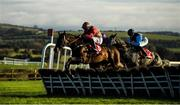 17 November 2019; Alpine Cobra, with Kevin Brouder up, left, jump the last on their way to winning the Connolly's RED MILLS Irish EBF Auction Maiden Hurdle at Punchestown Racecourse in Naas, Kildare. Photo by David Fitzgerald/Sportsfile