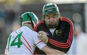 17 November 2019; St Mullins goalkeeper Kevin Kehoe is tackled by Ross King of Rathdowney Erril during the AIB Leinster GAA Hurling Senior Club Championship semi-final match between St Mullins and Rathdowney Errill at Netwatch Cullen Park in Carlow. Photo by Piaras Ó Mídheach/Sportsfile