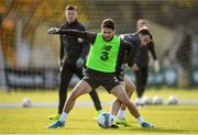 17 November 2019; Robbie Brady and Seamus Coleman, right, during a Republic of Ireland training session at the FAI National Training Centre in Abbotstown, Dublin. Photo by Stephen McCarthy/Sportsfile
