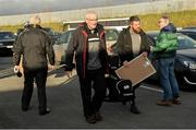 17 November 2019; Kilcoo Manager Mickey Moran arrives before the AIB Ulster GAA Football Senior Club Championship semi-final match between Kilcoo and Derrygonnelly at the Athletic Grounds in Armagh. Photo by Oliver McVeigh/Sportsfile