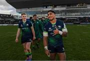 17 November 2019; Conor Fitzgerald, left, and Bundee Aki of Connacht following the Heineken Champions Cup Pool 5 Round 1 match between Connacht and Montpellier at The Sportsground in Galway. Photo by Ramsey Cardy/Sportsfile