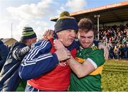 17 November 2019; Clonmel Commercials manager Charlie McGeever celebrates with Ross Peters following the AIB Munster GAA Football Senior Club Championship semi-final match between St. Joseph's Miltown Malbay and Clonmel Commercials at Hennessy Memorial Park in Miltown Malbay, Clare. Photo by Sam Barnes/Sportsfile