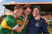17 November 2019; Kevin Fahey, left, and Ross Peters of Clonmel Commercials, celebrate with Clonmel Commercials supporter Joe McNamara, right, following the AIB Munster GAA Football Senior Club Championship semi-final match between St. Joseph's Miltown Malbay and Clonmel Commercials at Hennessy Memorial Park in Miltown Malbay, Clare. Photo by Sam Barnes/Sportsfile