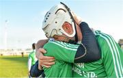 17 November 2019; St Mullins players Chris Kavanagh, right, and Philly Connors celebrate after the AIB Leinster GAA Hurling Senior Club Championship semi-final match between St Mullins and Rathdowney Errill at Netwatch Cullen Park in Carlow. Photo by Piaras Ó Mídheach/Sportsfile