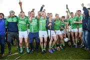 17 November 2019; St Mullins players and supporters celebrate after the AIB Leinster GAA Hurling Senior Club Championship semi-final match between St Mullins and Rathdowney Errill at Netwatch Cullen Park in Carlow. Photo by Piaras Ó Mídheach/Sportsfile