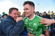 17 November 2019; Marty Kavanagh of St Mullins celebrates with supporters after the AIB Leinster GAA Hurling Senior Club Championship semi-final match between St Mullins and Rathdowney Errill at Netwatch Cullen Park in Carlow. Photo by Piaras Ó Mídheach/Sportsfile