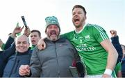 17 November 2019; Jack Kavanagh of St Mullins celebrates with supporters after the AIB Leinster GAA Hurling Senior Club Championship semi-final match between St Mullins and Rathdowney Errill at Netwatch Cullen Park in Carlow. Photo by Piaras Ó Mídheach/Sportsfile