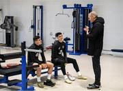 17 November 2019; Josh Cullen, left, and Callum O'Dowda in conversation with team security Martin Byrne during a Republic of Ireland training session at the FAI National Training Centre in Abbotstown, Dublin. Photo by Stephen McCarthy/Sportsfile