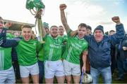 17 November 2019; St Mullins players including Marty Kavanagh, right, and Garry Bennett, second from right, celebrate with supporters after the AIB Leinster GAA Hurling Senior Club Championship semi-final match between St Mullins and Rathdowney Errill at Netwatch Cullen Park in Carlow. Photo by Piaras Ó Mídheach/Sportsfile