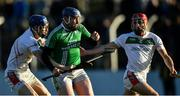 17 November 2019; Séamus Murphy of St Mullins in action against Brian Campion, left, and Jack Kelly of Rathdowney Erril during the AIB Leinster GAA Hurling Senior Club Championship semi-final match between St Mullins and Rathdowney Errill at Netwatch Cullen Park in Carlow. Photo by Piaras Ó Mídheach/Sportsfile