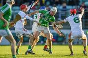 17 November 2019; Marty Kavanagh of St Mullins in action against Rathdowney Errill players, from left, Joe Fitzpatrick, Brian Campion, and Jack Kelly during the AIB Leinster GAA Hurling Senior Club Championship semi-final match between St Mullins and Rathdowney Errill at Netwatch Cullen Park in Carlow. Photo by Piaras Ó Mídheach/Sportsfile