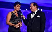 16 November 2019; Hall of Fame award winner Christina Heffernan from Mayo is interviewed by MC Marty Morrissey during the TG4 All-Ireland Ladies Football All Stars Awards banquet, in association with Lidl, at the Citywest Hotel in Saggart, Dublin. Photo by Brendan Moran/Sportsfile