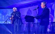 16 November 2019; Singers Charlie McGettigan, left and Paul Harrington perform during the TG4 All-Ireland Ladies Football All Stars Awards banquet, in association with Lidl, at the Citywest Hotel in Saggart, Dublin. Photo by Brendan Moran/Sportsfile