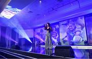 16 November 2019; Singer Lisa McHugh performing during the TG4 All-Ireland Ladies Football All Stars Awards banquet, in association with Lidl, at the Citywest Hotel in Saggart, Dublin. Photo by Brendan Moran/Sportsfile