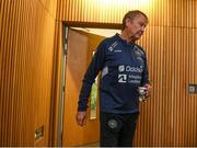 17 November 2019; Denmark manager Åge Hareide arrives for a Denmark press conference at the Aviva Stadium in Dublin. Photo by Stephen McCarthy/Sportsfile