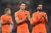 16 November 2019; Matthijs de Ligt, left, and Davy Propper of Netherlands following the UEFA EURO2020 Qualifier - Group C match between Northern Ireland and Netherlands at the National Football Stadium at Windsor Park in Belfast. Photo by David Fitzgerald/Sportsfile