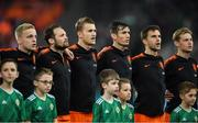 16 November 2019; Netherlands players during the national anthem prior to the UEFA EURO2020 Qualifier - Group C match between Northern Ireland and Netherlands at the National Football Stadium at Windsor Park in Belfast. Photo by David Fitzgerald/Sportsfile