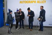 16 November 2019; Leinster players Seán Cronin, Joe Tomane and Jack Conan with supporters in Autograph Alley ahead of the Heineken Champions Cup Pool 1 Round 1 match between Leinster and Benetton at the RDS Arena in Dublin. Photo by Ramsey Cardy/Sportsfile