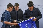 16 November 2019; Leinster players Seán Cronin and Joe Tomane with supporters in Autograph Alley ahead of the Heineken Champions Cup Pool 1 Round 1 match between Leinster and Benetton at the RDS Arena in Dublin. Photo by Ramsey Cardy/Sportsfile