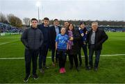 16 November 2019; Matchday mascot 12 year old Theodora McDonnell, from Ranelagh, Dublin, with Leinster players Hugo Keenan, Jimmy O'Brien and Bryan Byrne ahead of the Heineken Champions Cup Pool 1 Round 1 match between Leinster and Benetton at the RDS Arena in Dublin. Photo by Ramsey Cardy/Sportsfile