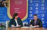 18 November 2019; Signing the memorandum of understanding between Leinster rugby and IT Carlow to announce their continued partnership are IT Carlow President Patricia Mulcahy and Leinster Rugby CEO Michael Dawson at the Institute of Technology Carlow. Photo by David Fitzgerald/Sportsfile