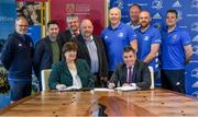 18 November 2019; Signing the memorandum of understanding between Leinster rugby and IT Carlow to announce their continued partnership are IT Carlow President Patricia Mulcahy and Leinster Rugby CEO Michael Dawson, centre, alongside, from left, Brian Murray, Head of S&C IT Carlow, Donal McNally, Director of Sport at IT Carlow, Myles Kelly, Head of Sport and Media Marketing at IT Carlow, David Denieffe, Vice President of Academic Research, Declan O'Brien, Coach Development Manager at Leinster Rugby, Phillip Lawlor, Head of Rugby Development at Leinster Rugby, Corey Carty, South East Coach Development Officer at Leinster Rugby and Brett Igoe, Rugby Progamme Leader at IT Carlow at the Institute of Technology Carlow. Photo by David Fitzgerald/Sportsfile