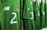 18 November 2019; A general view of Republic of Ireland jerseys in their dressing room before the UEFA Under-17 European Championship Qualifier match between Republic of Ireland and Israel at Turner's Cross in Cork. Photo by Piaras Ó Mídheach/Sportsfile