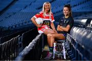 18 November 2019; Naomh Pól Captain Áine Tubridy, left, and Amy Gavin Mangan of Naomh Ciarán, with the Ladies All-Ireland Intermediate Club Trophy during LGFA All-Ireland Club Finals Captains Day at Croke Park in Dublin. Photo by Sam Barnes/Sportsfile