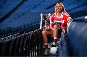18 November 2019; Naomh Pól Captain Áine Tubridy with the Ladies All-Ireland Intermediate Club Trophy during LGFA All-Ireland Club Finals Captains Day at Croke Park in Dublin. Photo by Sam Barnes/Sportsfile