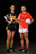 18 November 2019; Eimear Meaney of Mourneabbey, left, and Louise Ward, captain of Kilkerrin-Clonberne, with the Dolores Tyrrell Memorial Cup ahead of the Senior Ladies All-Ireland Club Final, during LGFA All-Ireland Club Finals Captains Day at Croke Park in Dublin. Photo by Sam Barnes/Sportsfile