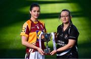 18 November 2019; Captains, Marie Larkin of CL MacHale Rovers, left, and Eileen Lyons of Donoughmore, with the Ladies All-Ireland Junior Club Championship Perpetual Cup, during LGFA All-Ireland Club Finals Captains Day at Croke Park in Dublin. Photo by Sam Barnes/Sportsfile