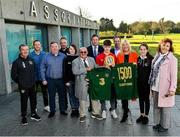 18 November 2019; Mrs Brown's Boys and the FAI have today announced the latest phase of their innovative six-year Heart Care Programme, which has already screened over 1600 boys and girls in the National Leagues. Pictured in attendance is, from left, Dr Alan Byrne, FAI Medical Director & Senior Men's Team Doctor, former League of Ireland player Sean Prunty, Conor O'Connell, father of James O'Connell, David Greville, Heart Safety Solutions, Maria O'Connell, Mrs. Brown's Boys' Brendan O'Carroll, FAI General Manager Noel Mooney, James O'Connell, one of 85 young footballers successfully refereed for cardiology assessment and treatment, Ed Donovan, CEO AMS, Mrs. Brown's Boys' Jenny Gibney, Anabel O'Connell, and Sarah O'Connell at FAI Headquarters in Abbotstown, Dublin. Photo by Seb Daly/Sportsfile