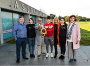 18 November 2019; Mrs Brown's Boys and the FAI have today announced the latest phase of their innovative six-year Heart Care Programme, which has already screened over 1600 boys and girls in the National Leagues. Pictured in attendance is James O'Connell, centre, one of 85 young footballers successfully referred for cardiology assessment and treatment, with, from left, Conor O'Connell, Maria O'Connell, Mrs. Brown's Boys Brendan O'Carroll and Jenny Gibney, Anabel O'Connell, and Sarah O'Connell, at FAI Headquarters in Abbotstown, Dublin. Photo by Seb Daly/Sportsfile