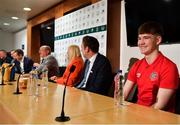 18 November 2019; Mrs Brown's Boys and the FAI have today announced the latest phase of their innovative six-year Heart Care Programme, which has already screened over 1600 boys and girls in the National Leagues. Pictured during the press conference is James O'Connell, from Sligo, one of 85 young footballers successfully refereed for cardiology assessment and treatment, at FAI Headquarters in Abbotstown, Dublin. Photo by Seb Daly/Sportsfile
