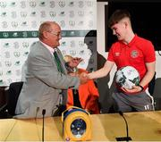 18 November 2019; Mrs Brown's Boys and the FAI have today announced the latest phase of their innovative six-year Heart Care Programme, which has already screened over 1600 boys and girls in the National Leagues. Pictured during the press conference is James O'Connell, from Sligo, one of 85 young footballers successfully refereed for cardiology assessment and treatment, right, and Mrs. Brown's Boys' Brendan O'Carroll, at FAI Headquarters in Abbotstown, Dublin. Photo by Seb Daly/Sportsfile