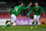 18 November 2019; Oliver O'Neill of Republic of Ireland, left, celebrates scoring his side's first goal with team-mate Ben McCormack during the UEFA Under-17 European Championship Qualifier match between Republic of Ireland and Israel at Turner's Cross in Cork. Photo by Piaras Ó Mídheach/Sportsfile
